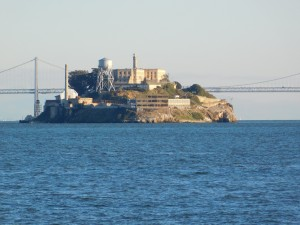 The Rock.  With the Bay Bridge (to Oakland) behind it.
